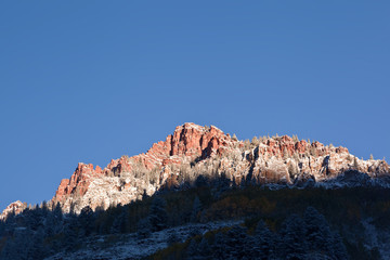 View to Maroon Bells mountains in Autumn