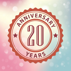 20 Years Anniversary-Retro seal, with colorful bokeh background