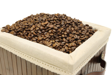 isolated coffee beans in the box