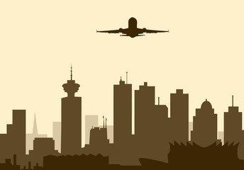Aeroplane flying over Vancouver-Vector