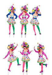 Sequence photos funny woman in clown