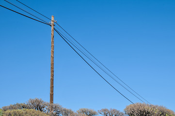 old wooden electric pole