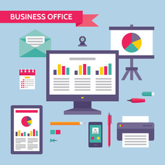 Business Office - Concept Illustration in Flat Design Style