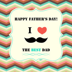 Fathers day greeting card in retro style, vector illustration