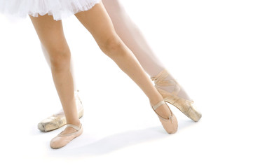 legs and feet of Ballet dancer teacher and pupil learning