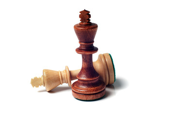 Two chess kings on a white background