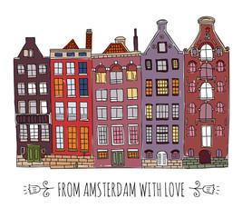 Cute cartoon hand drawn vector old european houses in amsterdam