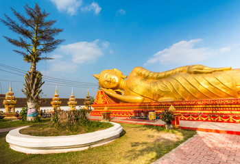 Reclining Buddha in Lao National Culture Hall.
