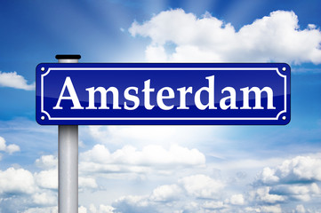 Schild Antik mit Amsterdam