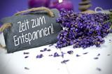 Fototapety Lavendel mit Schiefertafel und Zeit zum Entspannen