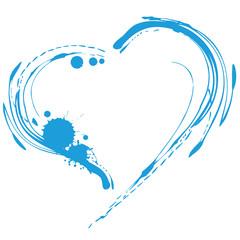 Blaues Herz, Wasser,Urlaub,Klekse,Handzeichnung