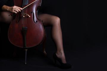Beautiful woman holding a cello with selective light and black d
