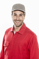 closeup portrait of a man with expressive face in workwear