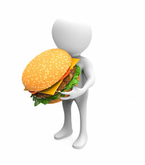 3d man with hamburger
