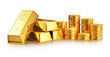 canvas print picture - Gold ingots and coins