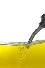 gas pump nozzle in petrol