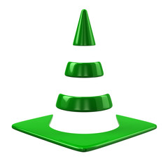 Green traffic cone icon