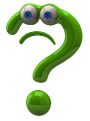 Illustration of sad green question mark