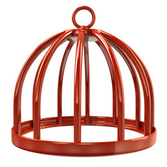 Illustration of orange bird cage