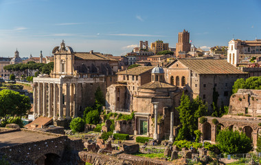 Romos Forumas as seen from Palatine Hill, Rome, Italy