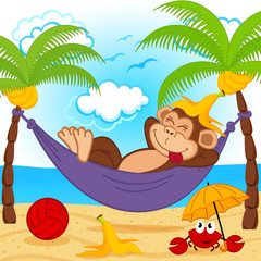 monkey on hammock  - vector illustration, eps