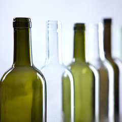 Empty wine bottles recycled glass