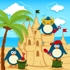 penguin built  sand castle - vector illustration, eps