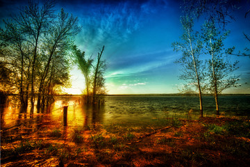 Colorful Sunrise over Idyllic Lake