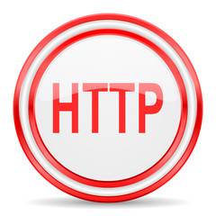 http red white glossy web icon