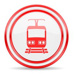train red white glossy web icon