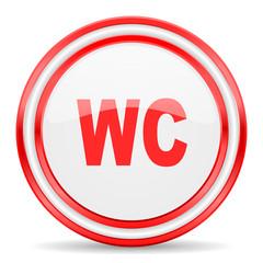 toilet red white glossy web icon