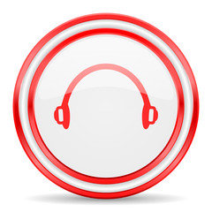 headphones red white glossy web icon