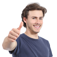 Happy man with a perfect white smile and thumb up