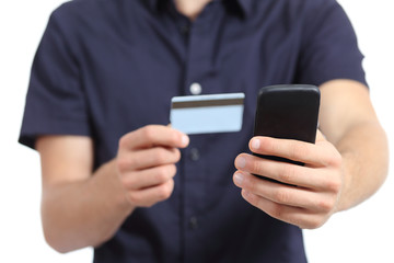 Man hands shopping on the smart phone with a credit card