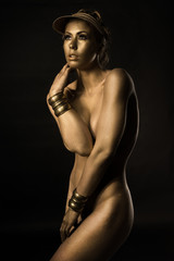 Golden Metallic bodypained woman