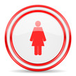 female red white glossy web icon