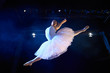 female classic dancer jumping mid air during ballet - 65296581