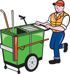 Street Cleaner Pushing Trolley Cartoon Isolated