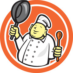 Fat Buddha Chef Cook Holding Pan Circle Cartoon