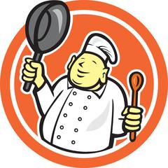 Fat Buddha Chef Cook Holding Pan Circle Cartoon