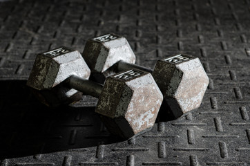Dumbbells on gym floor
