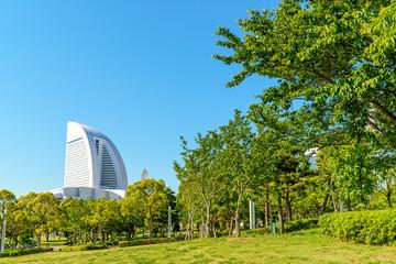 Scenic Yokohama Rinko-Park in Yokohama, Japan.
