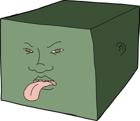 Unhappy Face on Cube