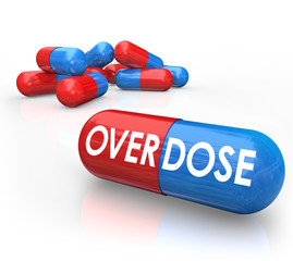 Overdose Word Pills Capsules OD Drug Addiction