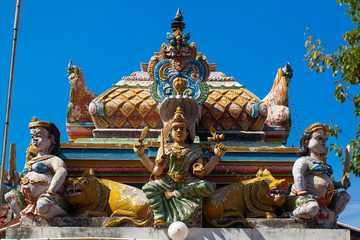 Hindu deities on the facade of temple and cultural monuments