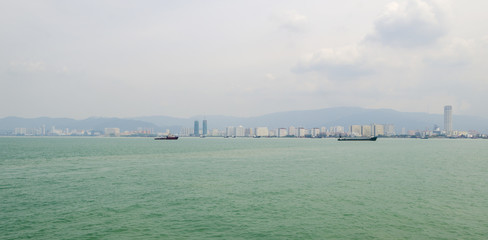 cargo ship in the international business in Penang, Malaysia