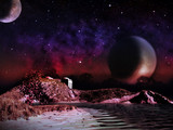 Alien planet. Two moons at night rise over the landscape - 65300321