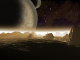 Alien planet. Two moons at night rise over a rocky moon - 65300322