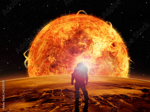 Foto op Canvas Baksteen An astronaut watches an alien sun rise over a rocky moon