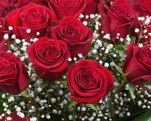 Flower bouquet from red roses.